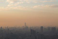 Taipei skyline submerged in smog during sunset Royalty Free Stock Photos