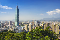 Taipei Skyline. Taipei, Taiwan downtown skyline at the Xinyi Financial District stock photo