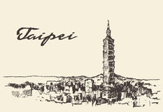 Taipei skyline Taiwan vector hand drawn sketch Stock Photo