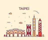Taipei skyline Trendy vector illustration linear Stock Photos