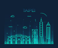 Taipei skyline Trendy vector illustration linear Royalty Free Stock Photos