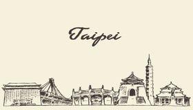 Taipei skyline vector illustration drawn sketch Stock Image