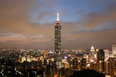 Taipei 101 skyscraper in downtown Taiwan at twilight Royalty Free Stock Photo