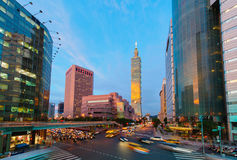 Taipei 101 Skyscraper by the sunset Royalty Free Stock Image