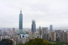 Taipei 101 skyscraper, Taipei, Taiwan. Taipei skyline with Taipei 101 skyscraper, view from the elephant mountain Royalty Free Stock Photo