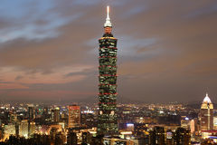 Taipei 101 skyscraper in Taiwan at night Royalty Free Stock Image