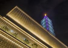 Taipei 101 som bygger Fotografering för Bildbyråer