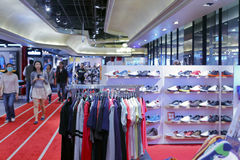Taipei sport clothing shop. Sports clothing and footwear store in 101 business district, taipei city, taiwan. the carpet looks like runway stock image