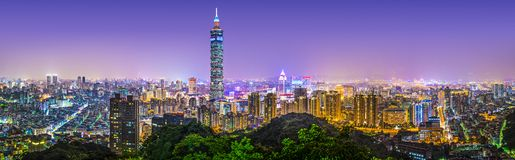 Taipei stadspanorama fotografering för bildbyråer