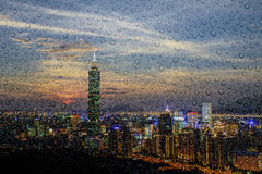 Taipei stadssikt på natten Fotografering för Bildbyråer