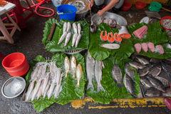 Taipei Street in one of suburb, district. Market Street in Taipei. Selling Fish Stock Image