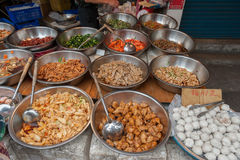 Taipei Street in one of suburb, district. Market Street in Taipei. Selling Food. Stock Photo