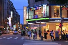 Taipei street view at night Stock Photography