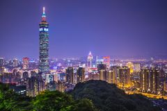 Taipei Taiwan. Taipei, Taiwan skyline at night Stock Photos