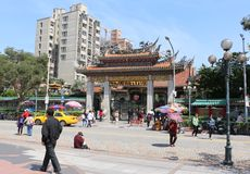 TAIPEI, TAIWAN - APRIL 15, 2015. LongShan Temple at Taiwan on April 15, 2015. LongShan is a famous sacred temple at Taipei, Taiwan for local people and tourist Stock Photography