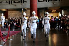 TAIPEI, TAIWAN - APRIL 15, 2015. The main entrance of Sun Yat-Sen Memorial Hall at Taipei on April 15, 2015. The formal changing of the guards happens hourly Stock Image