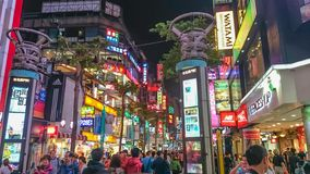 Night life of Ximending walking street in taipei city taiwan royalty free stock photo
