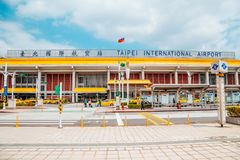 Songshan international airport in Taipei, Taiwan. Taipei, Taiwan - April 25, 2018 : Songshan international airport Stock Photography