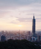 Taipei, Taiwan. Beautiful cityscape view of Taipei, Taiwan on sunset with Taipei 101 from mt. Elephant Stock Photos