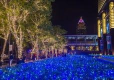 Taipei, Taiwan Christmas lights. TAIPEI , TAIWAN - DEC 10 : Christmas lights and decorations in downtown Taipei Taiwan on December 10 2017 Royalty Free Stock Photo