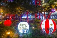 Taipei, Taiwan Christmas lights. TAIPEI , TAIWAN - DEC 10 : Christmas lights and decorations in downtown Taipei Taiwan on December 10 2017 royalty free stock photos