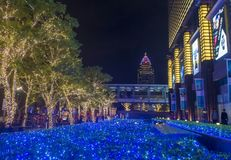 Taipei, Taiwan Christmas lights. TAIPEI , TAIWAN - DEC 10 : Christmas lights and decorations in downtown Taipei Taiwan on December 10 2017 royalty free stock image
