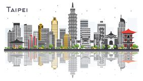 Taipei Taiwan City Skyline with Gray Buildings Isolated on White. Background. Vector Illustration. Business Travel and Tourism Concept. Taipei Cityscape with Stock Photos
