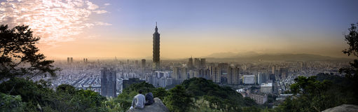 Taipei, Taiwan city skyline at twilight. The Taipei, Taiwan city skyline at twilight royalty free stock image