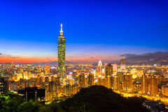 Taipei, Taiwan city skyline at twilight. Royalty Free Stock Images