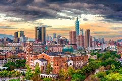 Taipei, Taiwan Cityscape at Dusk royalty free stock images