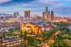 Taipei, Taiwan Cityscape at Dusk. Taipei, Taiwan downtown skyline and university at dusk stock photo