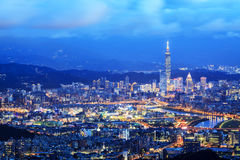 Taipei, Taiwan Cityscape from Neihu District. Royalty Free Stock Image