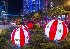 Taipei, Taiwan Christmas lights. TAIPEI , TAIWAN - DEC 10 : Christmas lights and decorations in downtown Taipei Taiwan on December 10 2017 Stock Image