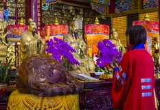 Chih Nan Temple in Taipei. TAIPEI , TAIWAN - DEC 08 : The interior of Chih Nan Temple in Taipei Taiwan on December 08 2017. Chin Nan is a Taoist temple on the Royalty Free Stock Photography