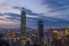 Taipei, Taiwan skyline. TAIPEI , TAIWAN - DEC 14 : The scene of Taipei 101 building and Taipei city Taiwan on December 14 2017. The photo has been taken from the Stock Photo
