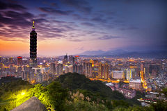 Taipei, Taiwan evening skyline. Royalty Free Stock Photo