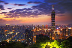 Taipei, Taiwan evening skyline. Royalty Free Stock Image
