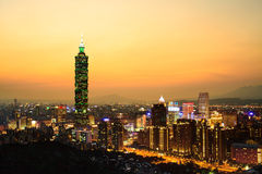 Taipei, Taiwan evening skyline Royalty Free Stock Images