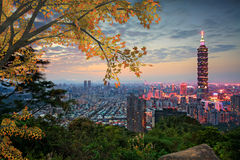 Taipei, Taiwan evening skyline Royalty Free Stock Photography