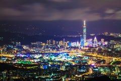 Taipei, Taiwan evening skyline Royalty Free Stock Photography