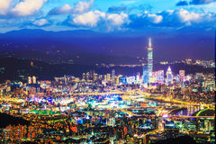 Taipei, Taiwan evening skyline Royalty Free Stock Image