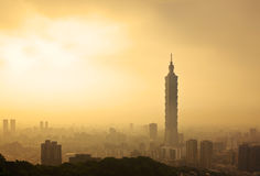 Taipei, Taiwan evening skyline Royalty Free Stock Photo