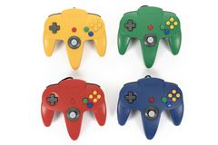 Classic Colors of the Nintendo 64 Gaming Console stock image