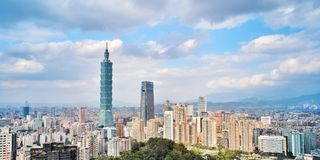 Taipei, Taiwan - Jan 11, 2018: Taipei is a capital city of Taiwan. Asia business concept image. Panoramic modern cityscape building bird's eye view, shot stock images