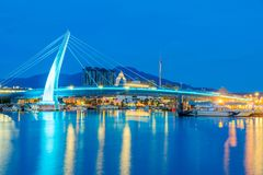 Lover`s bridge in Tamsui at night. TAIPEI, TAIWAN - JULY 05: This is a night view of Lover`s bridge a famous bridge in the Fisherman`s wharf are of Tamsui where Stock Photos