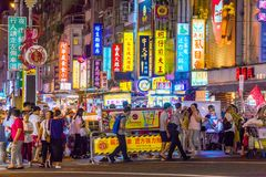 Ningxia night market. TAIPEI, TAIWAN - JULY 14: This is Ningxia night market a famous night market which has many local street food vendors and is situated in royalty free stock image