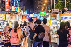 Ningxia night market. TAIPEI, TAIWAN - JULY 14: This is Ningxia night market a famous night market which has many local street food vendors and is situated in stock photo