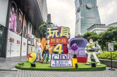 Taipei, Taiwan - June 6, 2016: Advertising decoration for the movie Toy Story 4 and displays at outdoor to promote the movie, Xiny. I district of Taipei stock photography