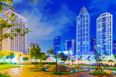 Banqiao park night view. TAIPEI, TAIWAN - JUNE 08: This is a view of the Banqiao citizen square and the entrance of Banqiao mrt and bus station which are popular Stock Image