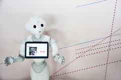 Free Taipei, Taiwan -  May 6, 2017 : `Pepper` Robot Assistant With Information Screen In Duty To Give Information To Audience Stock Photography - 154239082